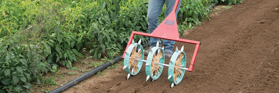 A three-row rolling dibbler being used to prepare a seedbed prior to transplanting.