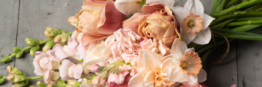 A bouquet of pale pink flowers.