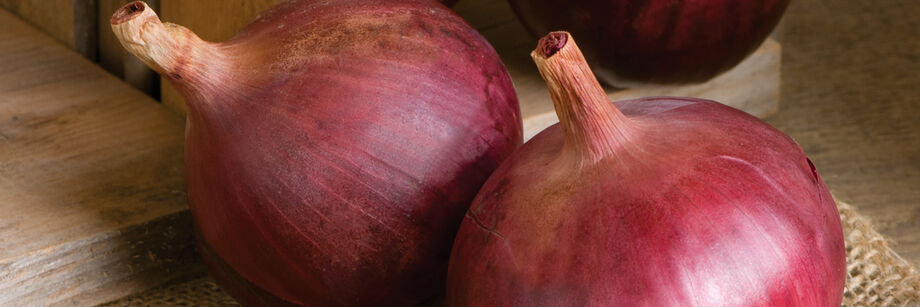 Two large, red onions on a cutting board.