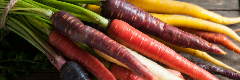 A close-up of a bunch of colored carrots.