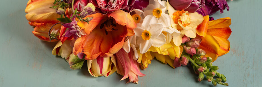 A bouquet of flowers with variegated coloring in coral, yellow, purple, cream, and white.