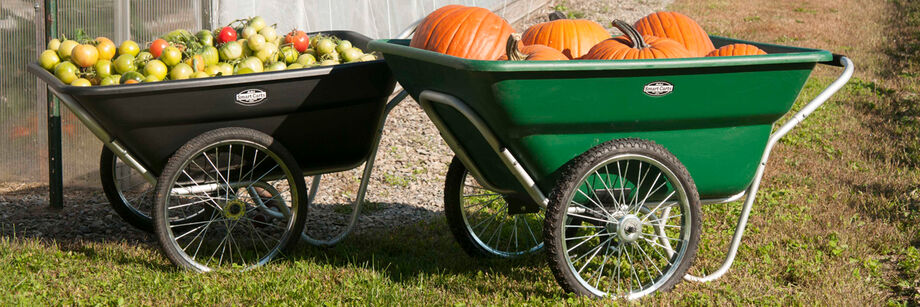 Two SmartCart garden carts. One black and filled with green tomatoes; one green and filled with pumpkins.