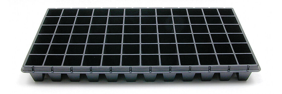 Black 72-cell tray for starting seeds.
