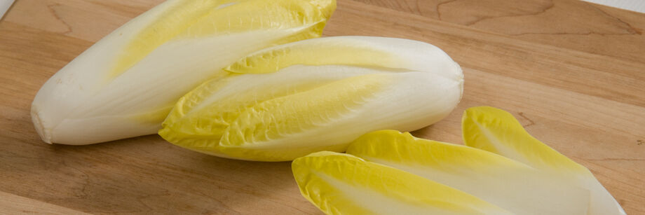 Belgian endive heads displayed on a wood cutting board.