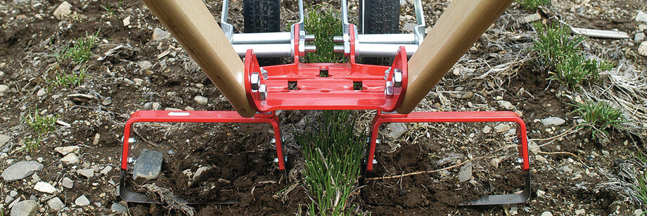 A Glaser double wheel hoe cultivating both sides of a row of chives.