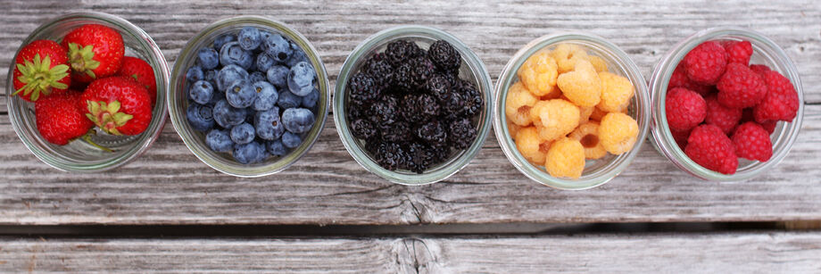 Five jars filled with berries grown from Johnny's fruit plants and fruit seeds.