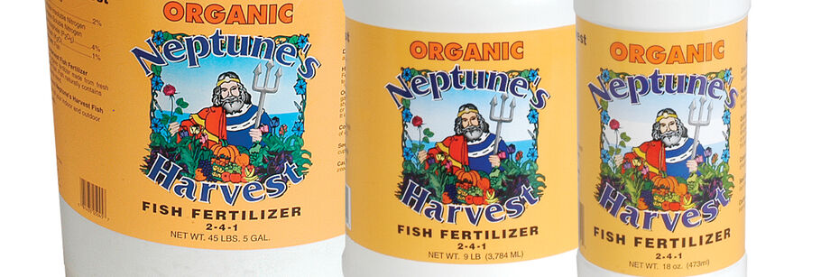 The label on organic Neptune's Harvest fish fertilizer, one of the OMRI gardening supplies we offer.