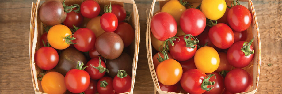 A colorful assortment of cherry tomatoes, grown with Johnny's cherry tomato seeds, and displayed in wooden quart containers.