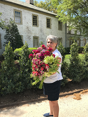 Lisa with an armful of dianthus and snaps