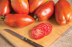 Blue Beech is a sausage-type heirloom paste tomato that fairly brims with flavor.