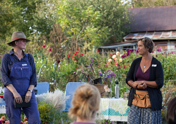 Erin Schneider (L) &amp Mary Jo Borchardt (R) introduce their July From Field to Vase event.