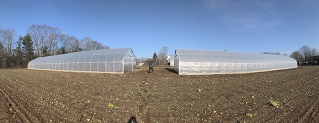 A pair of high tunnels prepared for overwinter trialing