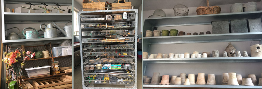 The workshop shelves are brimming with tools, pots, and implements, but all is neat as a pin.