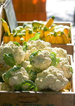 Crate of Fresh Market Cauliflower