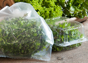 Micros packed for market in perforated bags and clamshells