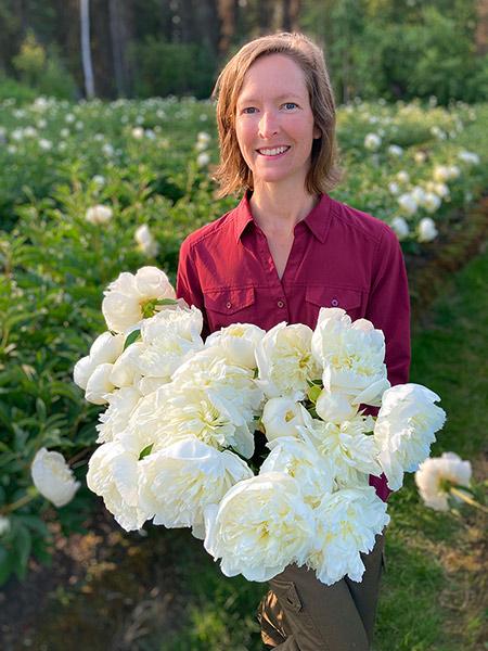 Martha Lojewski, cofounder and executive director of the Alaska Peony Cooperative