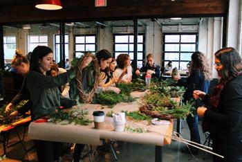 A pop-up wreath workshop offered in Toronto by urban flower farm, My Luscious Backyard