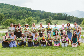 Participants in Evening on the Flower Farm, with their creations