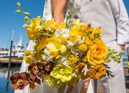 All-yellow bridal bouquet, by Camas Designs
