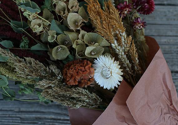 Bells of Ireland, strawflower, bupleurum & celosia